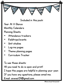 Planning Your Year- Calendars and Planning Sheets