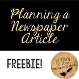 Planning a Newspaper Article Worksheet