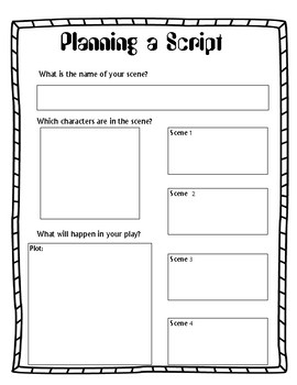 Planning a Script Play Screenplay Story Board Graphic Organizer ELA