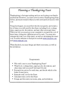 Planning a Thanksgiving Feast