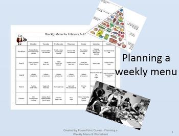Planning a Weekly Menu - PowerPoint & Worksheet