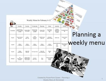 Planning a Weekly Menu - PowerPoint & Worksheet