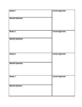 Planning an Argument Essay Graphic Organizer
