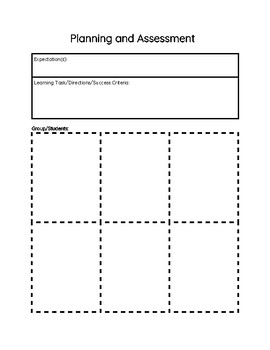 Planning and Assessment Blank Recording Sheet