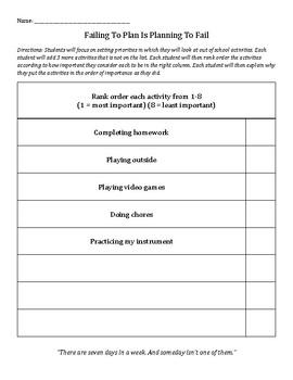 Planning and Prioritizing: organization, goal setting, positive mindset