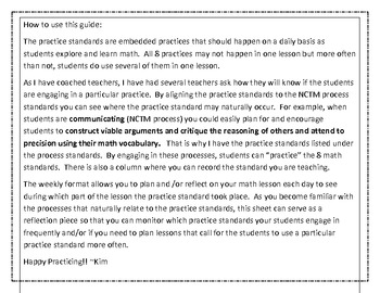 Planning and Reflecting with the Common Core Math Practice Standards in Mind