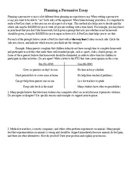 Planning for Persuasive Essay Writing