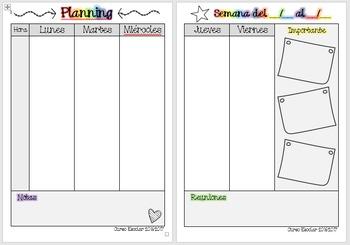 Planning semanal en español