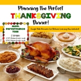Planning Thanksgiving Dinner-A Math Performance Task, Grad