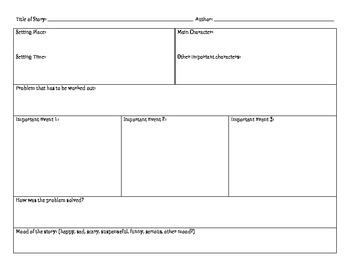 Planning/Graphic Organizer for Fiction