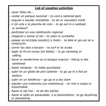 Plans For A Vacation Dialogue and Thematic Activities - Hacer Planes de Viaje