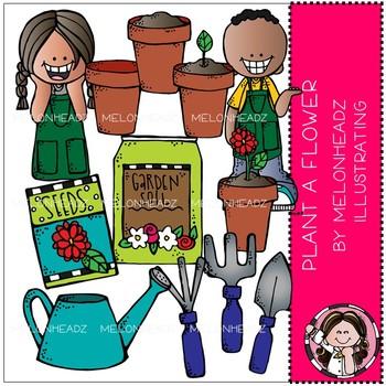 Plant A Flower clip art - BLACK AND WHITE - Melonheadz Clipart