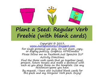 Plant A Seed Regular Verb FREEBIE