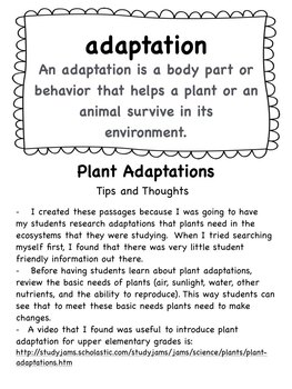 Plant Adaptations Informational Reading Passages and Activities  Black and White