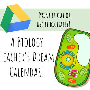 Plant & Animal Cell Monthly Calendar for the 2017-18 SY