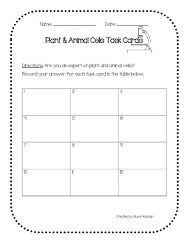 Plant & Animal Cells Task Cards