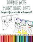Plant Based Diets Doodle Note, Color Handout, Printable