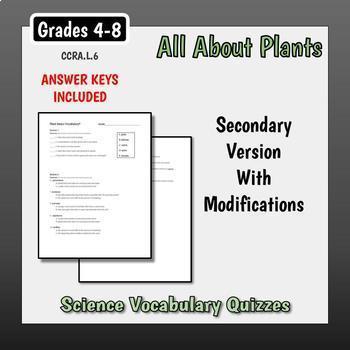 Plant Basics Vocabulary Quizzes