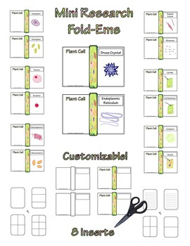 Plant Cell Research Fold-Ems, Flip-Ems, & Word Wall Activities