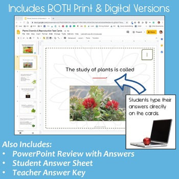 Plants: Diversity and Reproduction Task Cards with PowerPoint Review