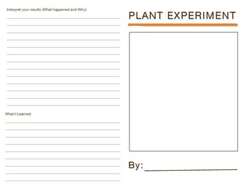 Plant Experiment Data Collection Booklet (Scientific Inquiry)