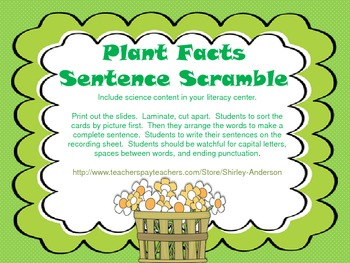 Plant Facts- Sentence Scramble
