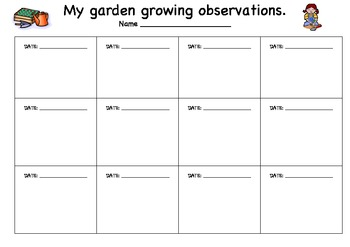 plant growing observation sheet by kristy myatt tpt. Black Bedroom Furniture Sets. Home Design Ideas
