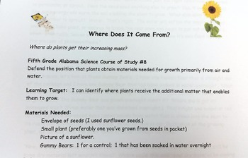 Plant Growth 5th Grade Course of Study #8