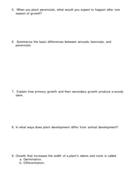Plant Growth and Development Homework Assignment 1