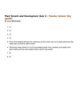 Plant Growth and Development Quiz 2