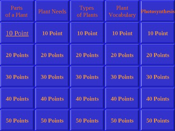 Plant Jeopardy - Review Game