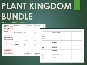 Plant Kingdom Power Point, Chart with vocabulary and key
