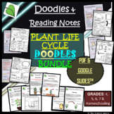 Plant Life Cycle Doodles BUNDLE with Reading Resources   Science Doodle Notes