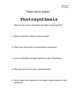 Plant Life in Action - Photosynthesis: Video Worksheet by Ms. Wagner