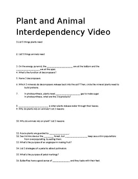 Plant Life in Action: Plant & Animal Interdependency Video Worksheet