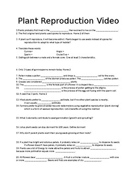 Plant Life in Action: Plant Reproduction Video Worksheet