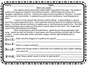 Plant Life cycle Science 3 Close Reading & 2 Experiments Labs Great for Spring!