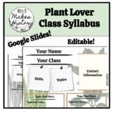 Plant Lover Class Syllabus