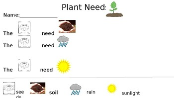 Plant Needs Rebus Writing FREEBIE
