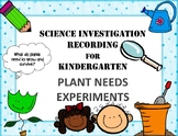 Plant Needs Science Experiment Recording Sheet Pack