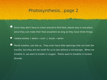 Plant Needs and Photosynthesis