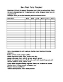 Plant Part Tracker Sheet with Writing Prompt