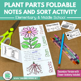 Plant Parts Foldable Notes Diagram and Functions Sort Activity