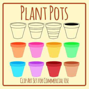 Plant Pots Gardening Template Clip Art Set Commercial Use