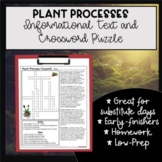 Plant Process Crossword and Reading - Photosynthesis Transpiration Respiration