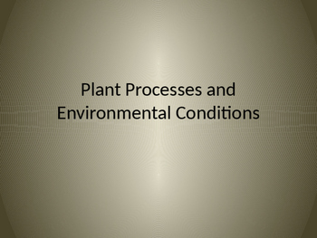 Plant Processes and Environmental Conditions