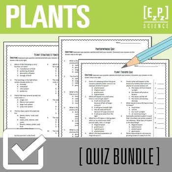 Plant Processes Quiz Bundle