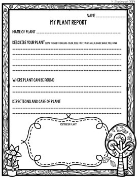 Plant Report FREEBIE