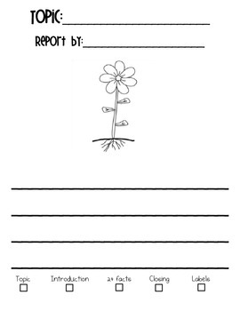 Plant Report Writing Paper with RUBRIC- Earth Day & Spring- DIFFERENTIATED