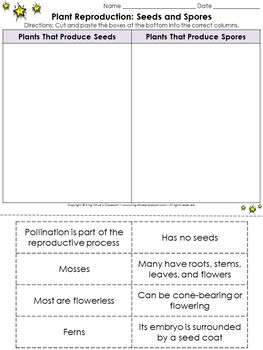 Plant Reproduction: Seeds and Spores Cut and Paste Activity